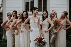 Neutral bridal party, tan bridesmaid dresses, sequin gowns, mismatched styles // Emily Magers Photography