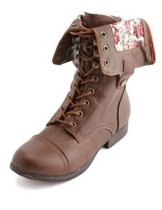 Floral-Lined Zip Combat Boot: Charlotte Russe