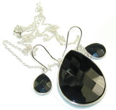 $115.50 Black Whisper!! Black Onyx Sterling Silver necklace / Earrings at www.SilverRushStyle.com #necklace #handmade #jewelry #silver #onyx