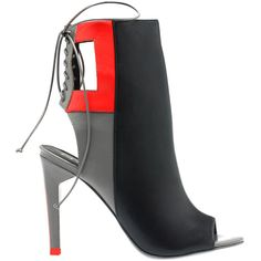 Alepel Ilara Bootie (381205301) (285 CAD) ❤ liked on Polyvore featuring shoes, boots, ankle booties, ankle boots, blk grey red baby calf, high heel ankle boots, red booties, peep toe ankle boots and grey leather boots