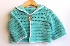 Crochet Baby Hooded Sweater Cardigan Jacket in by TheLilliePad