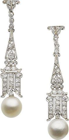 Estate Jewelry:Earrings, Art Deco Natural Pearl, Diamond, Platinum, White Gold Earrings.