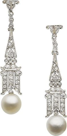 Estate Jewelry:Earrings, Art Deco Natural Pearl, Diamond, Platinum, White Gold Earrings.