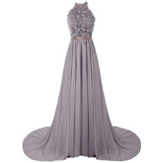 Dresstells Women's Halter Long Prom Dresses Bridesmaid Wedding Dress ($143) ❤ liked on Polyvore