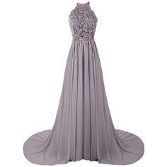 Dresstells Women's Halter Long Prom Dresses Bridesmaid Wedding Dress ($143) ❤ liked on Polyvore