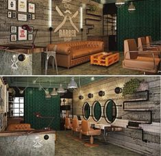 Here are some of the most trending and unique barber saloon interior decor designs. Barber Shop Interior, Hair Salon Interior, Barber Shop Decor, Salon Interior Design, Salon Design, Boutique Interior, Interior Ideas, Barber Shop Vintage, Andrea Barber