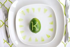 Limes for place cards - would be extra precious with monograms!