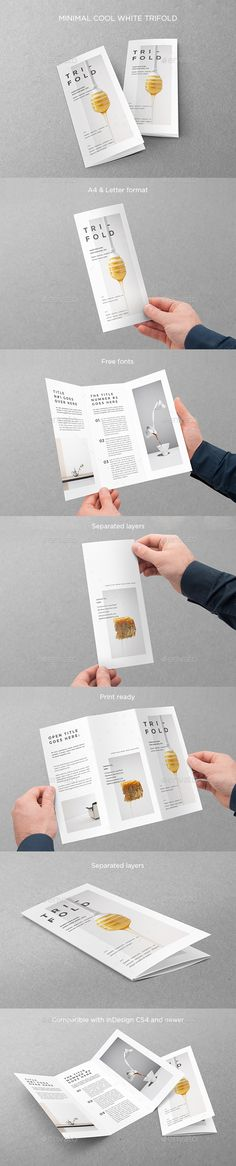 Minimal Cool White Trifold Brochure Template InDesign INDD. Download here: https://graphicriver.net/item/minimal-cool-white-trifold/17573257?ref=ksioks