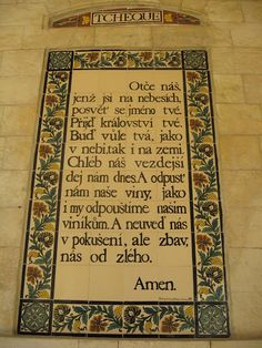 """""""Our Father"""" in Czech on Mount of Olives, Jerusalem."""