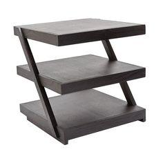 Lazy Susan 784060 Stacked Black Teak Side Table