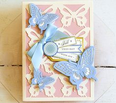 Garden butterfly fill this day with joy card by Anna Griffin. Make It Now with the Cricut Explore machine in Cricut Design Space.