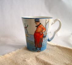 Vintage Porcelain Cup with Dutch Illustration by VintageHomeShop, $79.00