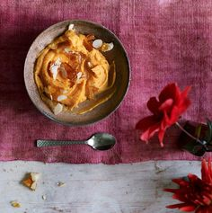 Creamy sweet potato, coconut and lime fool with salted almonds.