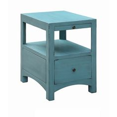 Langley Antique Blue 1 Drawer / 1 Pull Shelf Side Table Crestview Collection