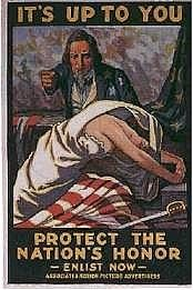 WWI propaganda poster: It's Up to you to Protect the Nation's Honor