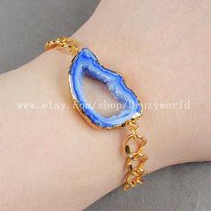 Freeform Rainbow Agate Druzy Geode Slice Bracelet by Druzyworld