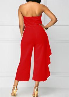 018bf117f536 LKOUS Women Off Shoulder Strapless Ruffle High Waisted Wide Leg Long  Jumpsuits Romper  gt  gt