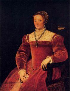 1545-1547 Giulia Varano Duchess of Urbino by Tiziano Vecellio (Palazzo Pitti - Firenze, Toscana, Italy) From backtoclassics.com/gallery/vecelliotiziano/giuliavaranoduchessofurbino/ via pinterest.com/lizluther/italian-partlet-project/.jpg