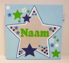 Schilderij met naam voor jongens. http://binnen-pret.nl/