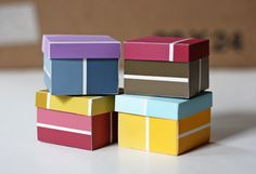 Paint swatch boxes.