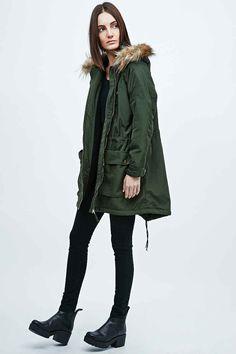 Light Before Dark Techy Faux Fur Hood Parka in Green - Urban Outfitters