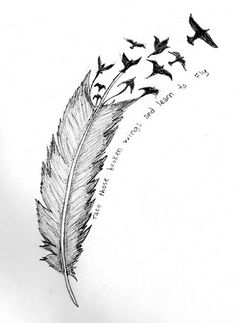 Feather tattoo birds flying to heaven