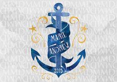 By The Sea Custom Watercolor Wedding Logo - Wedding Crest - Wedding Monogram - Nautical Wedding - Anchor Wedding