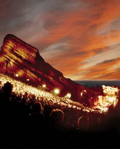 Red Rocks Amphitheater, near Denver -  natural red rock formation for outdoor concerts