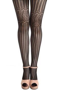 Striped Black Tights
