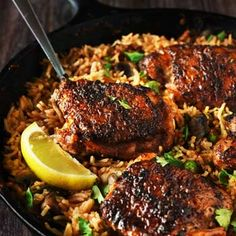 One Pan Spanish Rice & Spiced Chicken - Curious Nut