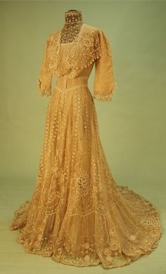 High-neck lace on net tea gown, early c. 1900s Fashion, Edwardian Fashion, Vintage Fashion, Retro Fashion, Robes Vintage, Vintage Dresses, Vintage Outfits, 1950s Dresses, Antique Clothing