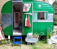 """Would love to find a great vintage camper and """"glamp it up"""" because camping is fun ~ but glamping rocks! A cute idea for a kids outdoor play-house! Retro Caravan, Retro Campers, Vintage Campers, Airstream Campers, Caravan Ideas, Camper Caravan, Gypsy Caravan, Gypsy Wagon, Camper Van"""