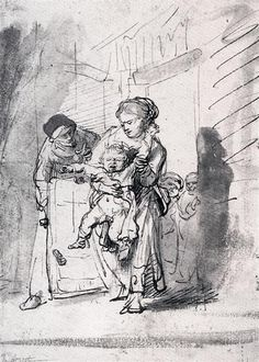 Child In A Tantrum, 1635 by Rembrandt. Baroque. sketch and study. Private Collection