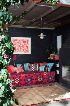 Cozy and colorful outdoor patio