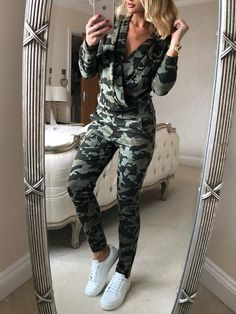98f173c08433 Camouflage V-Neck Casual Jumpsuit Camo Fashion