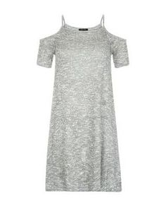 Teens Grey Cold Shoulder Swing Dress | New Look