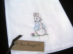 ♒ Enchanting Embroidery ♒  Flour Sack Tea Towel Peter Rabbit Hand Embroidered by bethbader