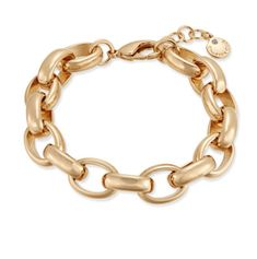 Maya Gold Tone Chain Link Adjustable Bracelet with extender so one size fits most https://www.bettinascollection.com/products/maya-gold-chain-link-bracelet