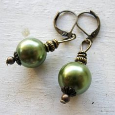 Antique Bronze Lever backs Sage Green Glass Pearl by MystiqueCat, $12.99