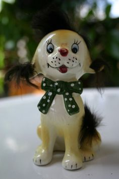 Vintage Ceramic Dog Figurine with Real Fur by WingedPharaoh