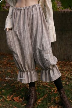 2c06f301c0 Extravagant Striped Washed Linen Bloomers with by BohemianAngels Plus Size  Pants