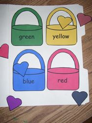 Valentine Color Word Match File Folder Game