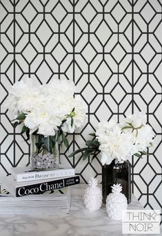 Black and White Geometric Wallpaper, Geometric Pattern Removable Wallpaper, Minimalistic Wall Mural