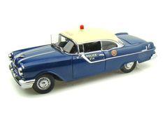SunStar 1955 Pontiac Star Chief Hard Top Police Car 1/18 Blue/White Pontiac Star Chief, Diecast Model Cars, Police Cars, Scale Models, Blue And White, Stars, Gallery, Top, Roof Rack