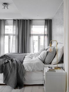 Scandinavian bedroom in a grey palette with soft textiles and golden d. Scandinavian bedroom in a grey palette with soft textiles and golden d. Gray Bedroom, Bedroom Inspo, Home Bedroom, Modern Bedroom, Bedroom Decor, Bedroom Ideas, Design Bedroom, Beautiful Bedrooms For Couples, Home Interior