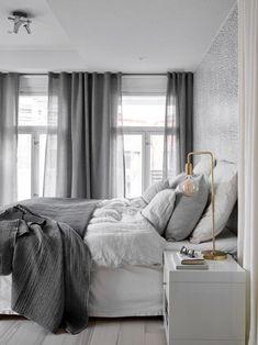 Scandinavian bedroom in a grey palette with soft textiles and golden d. Scandinavian bedroom in a grey palette with soft textiles and golden d. Gray Bedroom, Home Bedroom, Modern Bedroom, Bedroom Decor, Design Bedroom, Bedroom Ideas, Beautiful Bedrooms For Couples, Home Interior, Interior Design