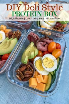 Recipes Snacks Lunch Ideas DIY Deli Style Protein Box - healthy meals that you can make ahead of time and have on hand for grab-n-go! Healthy and perfect for lunch or as a post-workout snack. Protein Dinner, Protein Box, High Protein Meal Prep, Healthy Protein Snacks, High Protein Recipes, Healthy Meal Prep, Healthy Recipes, Healthy Breakfasts, Protein Foods