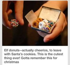 Elf donuts made with Cheerios to leave out with Santa's cookies!