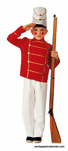 Child's Toy Soldier Costume  This child's toy wooden soldier costume includes white hat, red jacket with gold trim, and white pants