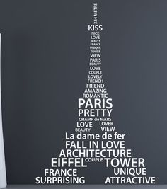 I love Paris vinyl wall decals Eiffel Tower wall by couturedecals